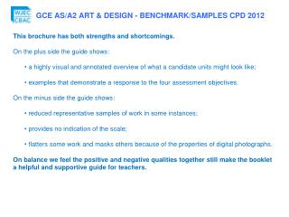 This  brochure  has both strengths and  shortcomings. On the plus side the guide shows: