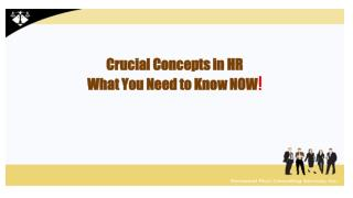 Crucial Concepts in HR What You Need to Know NOW !