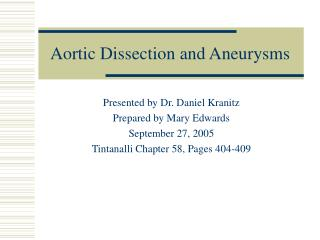 aortic dissection and aneurysms