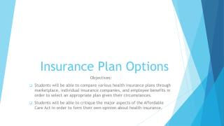 Insurance Plan Options