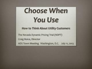 Choose When You Use How to Think About Utility Customers