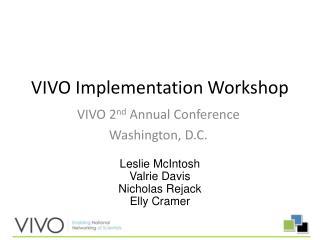 VIVO  Implementation Workshop