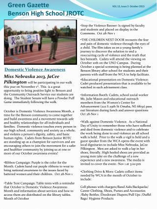 Green Gazette       VOL 13, Issue 3  October 2013 Benson High School JROTC
