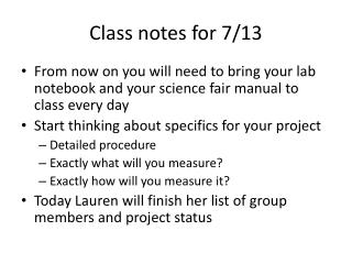 Class notes for 7/13