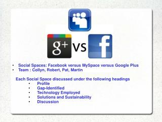 Social  Spaces :  Facebook  versus  MySpace  versus Google  Plus     Team : Collyn, Robert, Pat, Martin