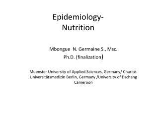 Epidemiology- Nutrition