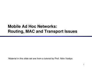 Mobile Ad Hoc Networks: Routing, MAC and Transport Issues