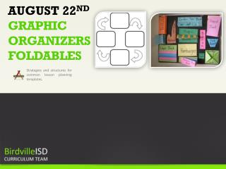 AUGUST 22 ND  GRAPHIC ORGANIZERS FOLDABLES