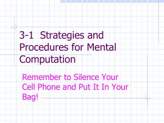 3-1  Strategies and Procedures for Mental Computation