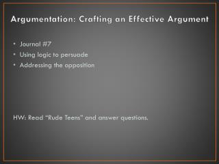 Argumentation: Crafting an Effective Argument