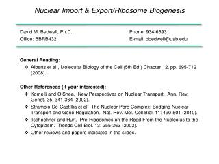 Nuclear Import & Export/Ribosome Biogenesis