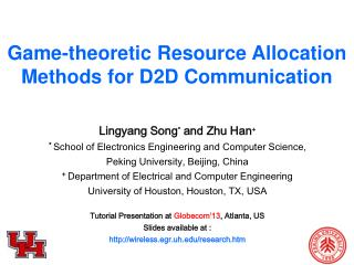 Game-theoretic Resource Allocation Methods  for D2D Communication