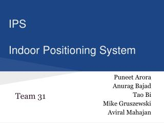 IPS Indoor Positioning System