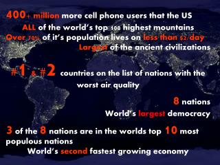 400 + million  more cell phone users that the US ALL  of the world's top 100 highest mountains Over 70%  of it's popula