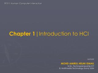 Chapter 1 |Introduction to HCI