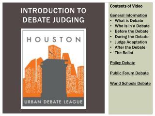 Introduction to  Debate Judging