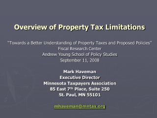 overview of property tax limitations