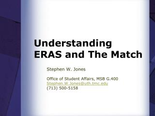 Understanding ERAS and The Match
