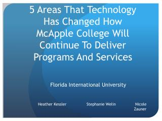 5 Areas That Technology Has Changed How  McApple  College Will Continue To Deliver Programs And Services