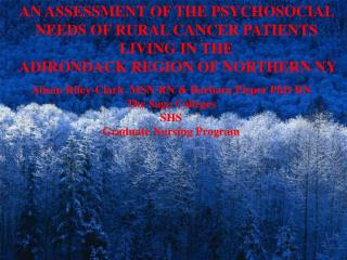 AN ASSESSMENT OF THE PSYCHOSOCIAL NEEDS OF RURAL CANCER PATIENTS LIVING IN THE  ADIRONDACK REGION OF NORTHERN NY