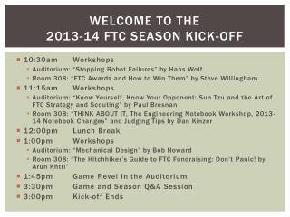 Welcome to the 2013-14 FTC Season kick-off