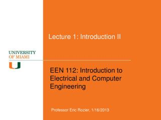 Lecture 1: Introduction II