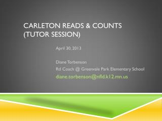 Carleton Reads & Counts (Tutor  Session)