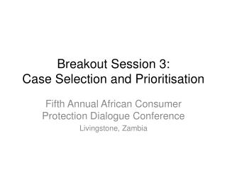 Breakout Session 3:  Case Selection and Prioritisation