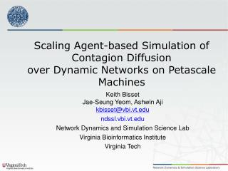 Scaling Agent-based Simulation of Contagion Diffusion over Dynamic Networks on  Petascale  Machines