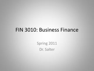 FIN 3010: Business Finance