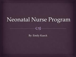 Neonatal Nurse  Program