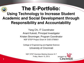 The E-Portfolio :  Using Technology to Increase Student Academic and Social Development through Responsibility and Acco