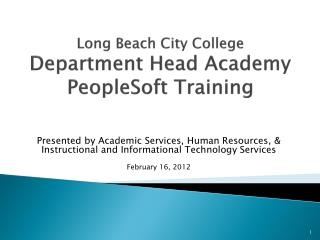 Long Beach City College Department Head Academy PeopleSoft Training