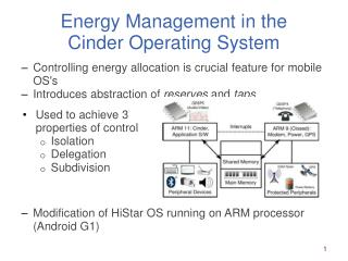 Energy Management in the  Cinder Operating System