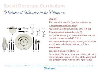 Social Decorum Curriculum Professional Behavior in the Classroom