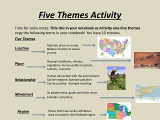 Five Themes Activity