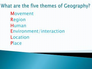 What are the five themes of Geography?