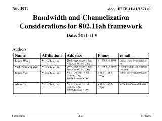 Bandwidth and Channelization Considerations for 802.11ah framework