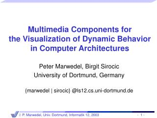 multimedia components for the visualization of dynamic behavior in computer architectures