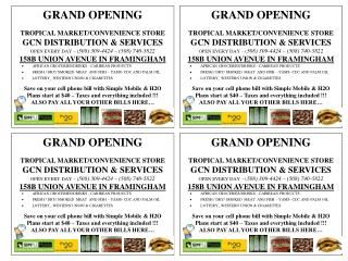GRAND OPENING TROPICAL MARKET/CONVENIENCE STORE GCN DISTRIBUTION & SERVICES OPEN EVERY DAY – ( 508) 309-4424 – (508) 74