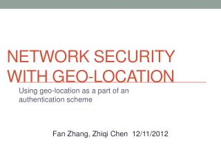 Network Security with Geo-location