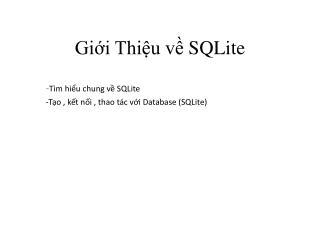 Giới Thiệu về SQLite