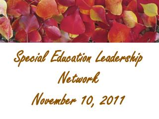 Special Education Leadership  Network November 10,  2011