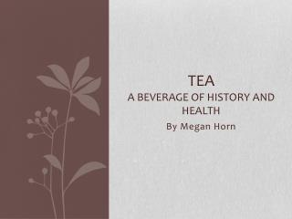Tea A Beverage of History and Health
