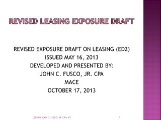 REVISED LEASING EXPOSURE DRAFT