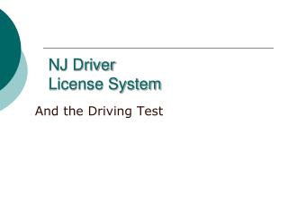 NJ Driver License System