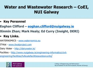 Water and Wastewater Research – CoEI, NUI Galway