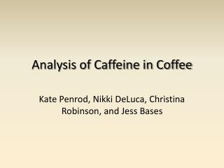 Analysis of Caffeine in Coffee