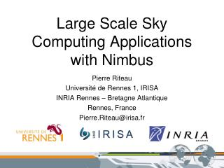 Large Scale Sky Computing Applications with Nimbus