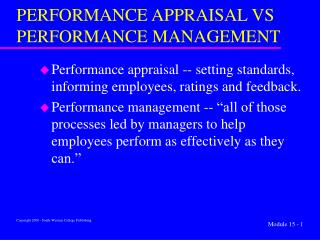 performance appraisal vs performance management